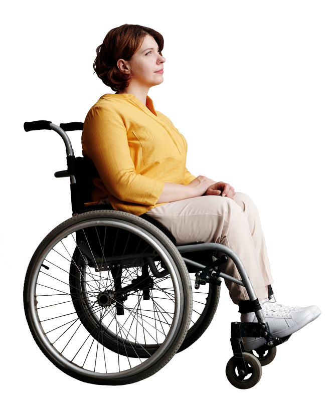 a disabled woman in a wheelchair