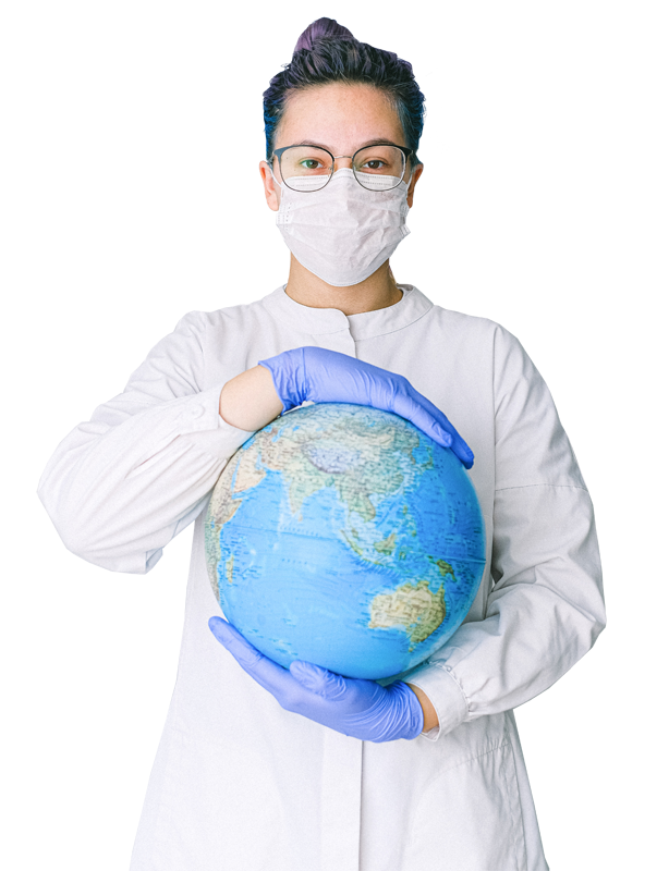 a healthcare professional holding the globe